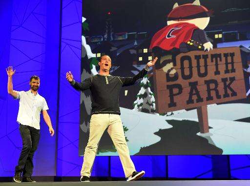 "Matt Stone (L) and Trey Parker announce ""South Park: The Fractured but Whole"" game before the opening day of the Elect"