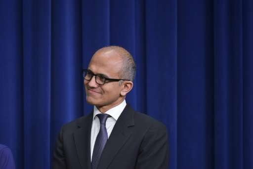 Microsoft CEO Satya Nadella, pictured on April 16, 2015, is seeking to reinvigorate a company that had been the world's largest