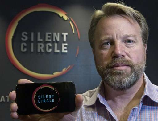 Mike Janke, CEO and Co-Founder of Silent Circle, holds a typical smart phone similar in styling to a new encrypted smartphone ca