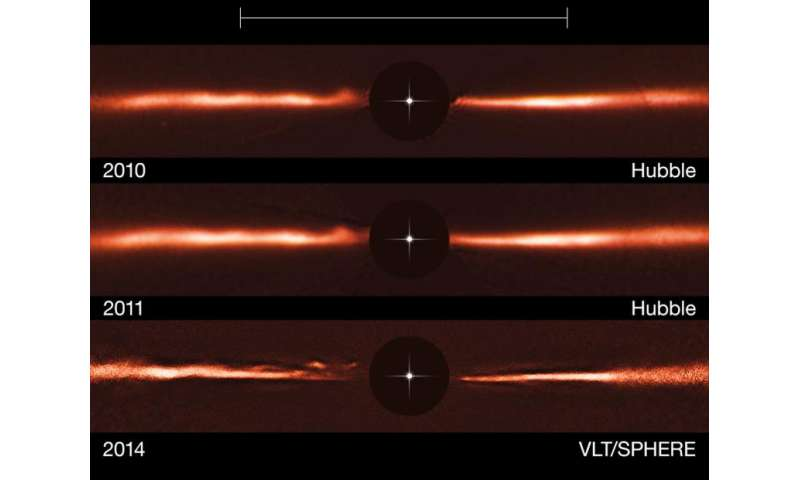 Mysterious ripples found racing through planet-forming disc
