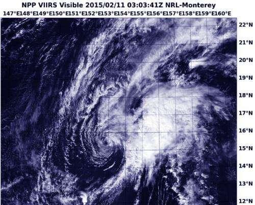 NASA-NOAA satellite sees Tropical Depression Higos sheared apart