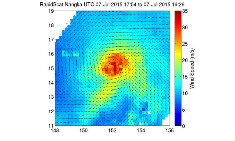 NASA sees powerful winds around Typhoon Nangka's center