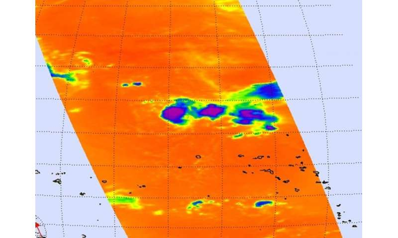 NASA sees thunderstorms flaring up on Halola's eastern side