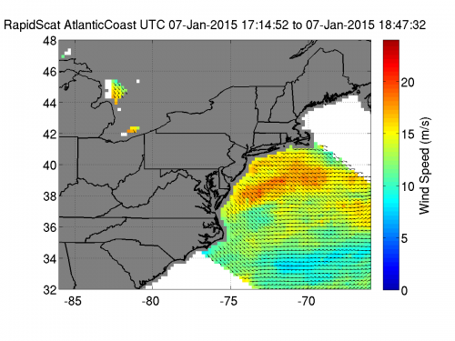 NASA's ISS-RapidScat looks at the winds in US east coast's 'wind chill'