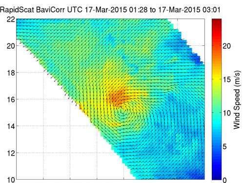 NASA's RapidScat sees waning winds of Tropical Depression Bavi