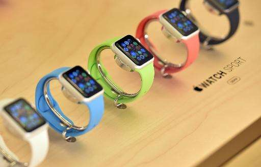 New Apple Watches are seen on display in an Apple store in Sydney on April 10, 2015