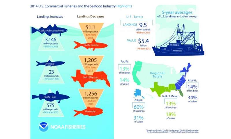 NOAA report finds the 2014 commercial catch of US seafood on par with 2013