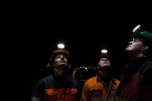 Norwegian coal miners in Svalbard, on March 9, 2012