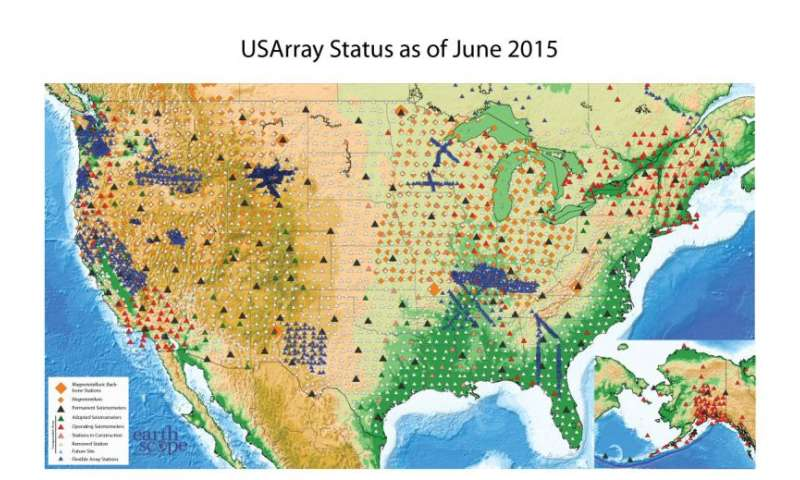 NSF-funded Earthscope USArray Map