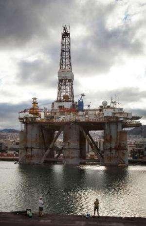 Oil platforms undergo maintenance in the port of Santa Cruz de Tenerife on June 6, 2014