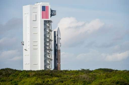 Orbital ATK's Cygnus spacecraft sits atop an Atlas V rocket from United Launch Alliance at Cape Canaveral on Wednesday, Dec. 2,