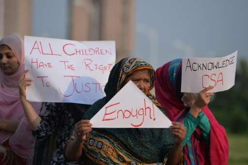 Pakistani rights activists stage a protest against a child sex abuse scandal in Islamabad on August 10, 2015
