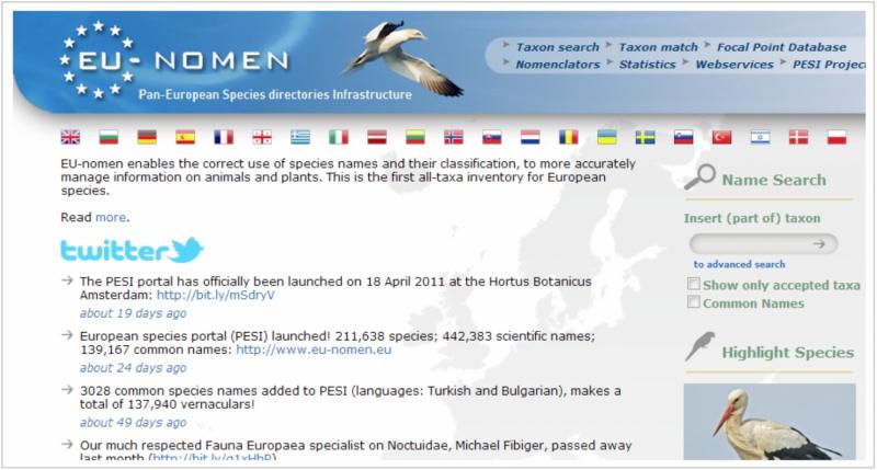Pan-European Species-directories Infrastructure: Basis for handling big taxonomic data