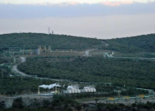 Part of the ol-Karia geothermal power generation complex is seen from a vantage point on the floor of the Kenyan Rift Valley, ne