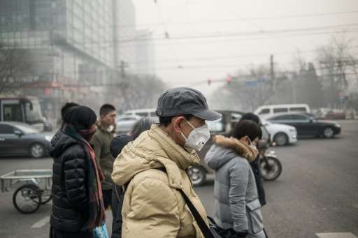 Pedestrians wear masks on a polluted day in Beijing on November 30, 2015