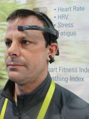 Pedro Vecchi of Neurosky models a brain wave sensing headset that can be used to optimize brain health, education, alertness and