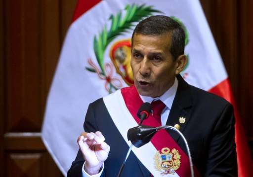 Peruvian President Ollanta Humala, pictured on July 28, 2015, will create the Sierra del Divisor National Park in a region inhab