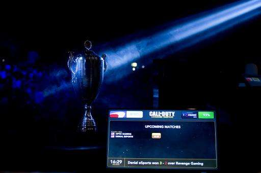 Picture of the cup taken during the Call of Duty Advanced Warfare Electronic Sports World Cup final, on May 3, 2015 in Paris