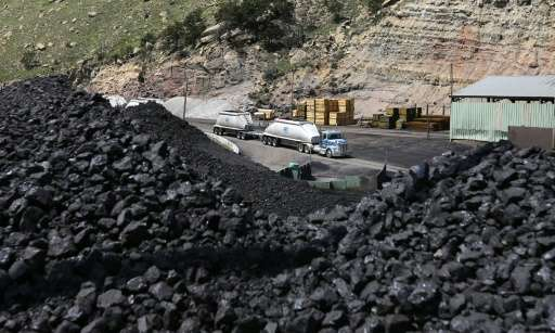 Piles of coal wait to be loaded into trucks at the Sufco Coal Mine, 30 miles east of Salina, Utah