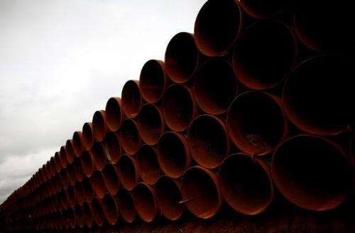 Pipes are stacked at the southern site of the Keystone XL pipeline on March 22, 2012 in Cushing, Oklahoma