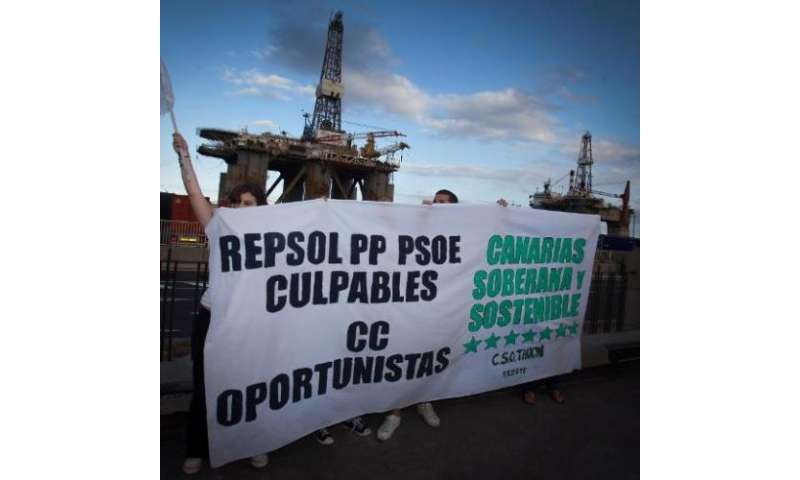 Protesters take part in a demonstration against the exploration for oil and gas off the coast of the Canary Islands, in Santa Cr