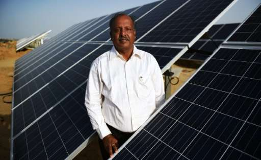 Ramakant Tibrewala, chairman of Roha Dyechem, poses for a photo during an interview at the under-construction Roha Dyechem solar