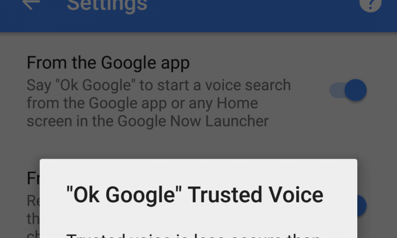 Report: Trusted Voice option rolling out for some