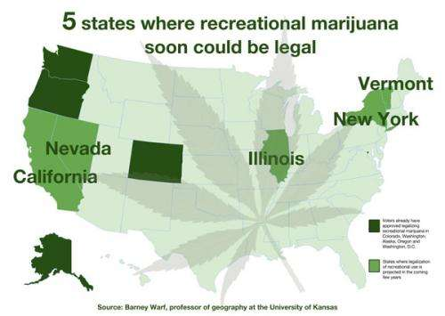Researcher forecasts next 5 states likely to OK recreational marijuana