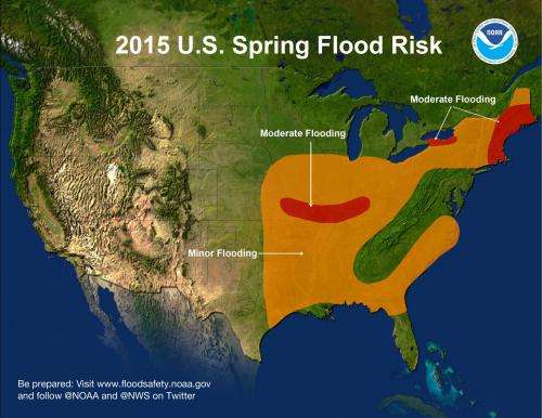 Risk of moderate flooding for parts of central and eastern United States