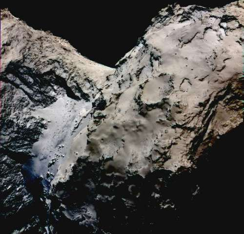 Rosetta: OSIRIS detects hints of ice in the comet's neck