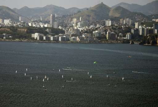 Sailboats are seen from above during a training session on Guanabara Bay ahead of the 2016 Olympic Games, in Rio de Janeiro on J