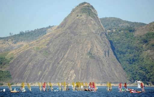 Sailing boats compete in the International Sailing Regatta held in Guanabara Bay in Rio de Janeiro on August 15, 2015, an event