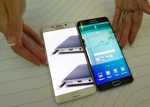 Samsung, maker of the Galaxy S6 edge+ (pictured at a launch event August 13, 2015), remains the world's top smartphone vendor, c