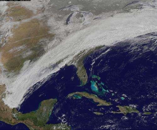 Satellite Movie Shows Winter Storm Sweep Over U.S. East Coast