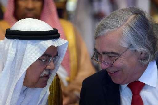 Saudi oil minister Ali al-Naimi (L) chats with US Secretary of Energy Ernest Moniz on November 4, 2015, in Riyadh; Saudi Arabia