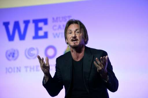 Sean Penn speaking at the COP21 UN conference on climate change in Le Bourget on December 5, 2015