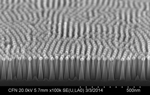 Self-assembled nanotextures create antireflective surface on silicon solar cells