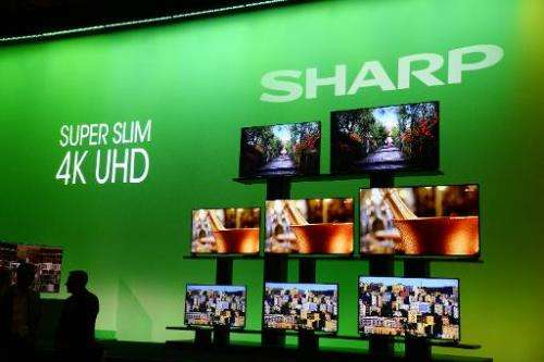Sharp Super Slim 4K UHD televisions displayed during the Sharp press conference at the Consumer Electronics Show in Las Vegas on