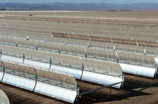 Solar mirrors at the Noor 1 Concentrated Solar Power plant, outside the central Moroccan town of Ouarzazate