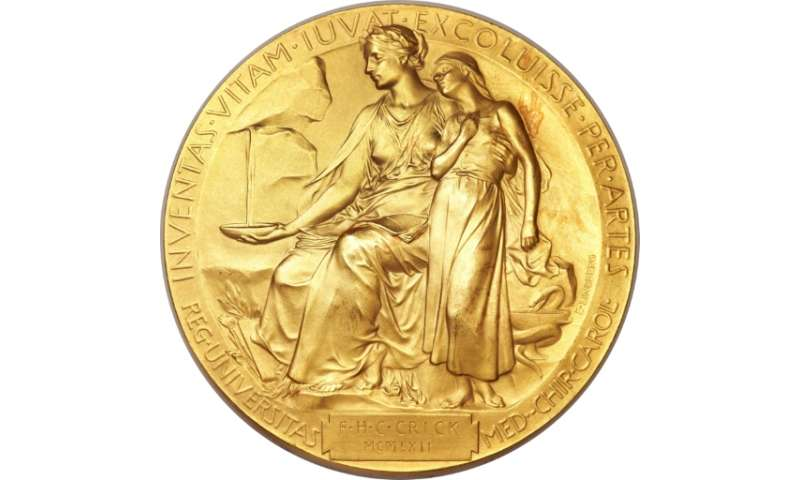 The 1962 Nobel Prize medal awarded to Dr. Francis Crick for discovering the structure of DNA