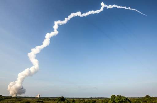 The Ariane 5 rocket is launched from the Ariane Launch Area 3 at the European spaceport in Kourou, in French Guiana on September