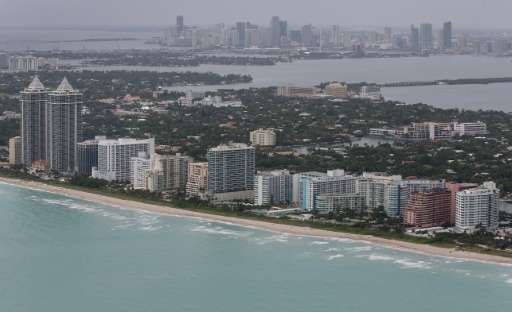 The coast line of Miami Beach and the City of Miami which a new study warns will sink below rising seas
