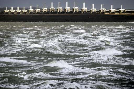 The Eastern Scheldt storm surge barrier (Oosterscheldekering), pictured in Vrouwenpolder, The Netherlands