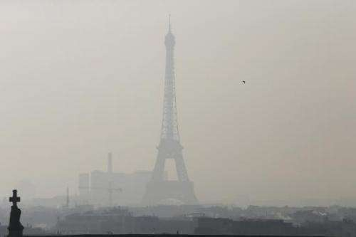 The Eiffel Tower obscured by smog during a previous pollution alert on February 12, 2015