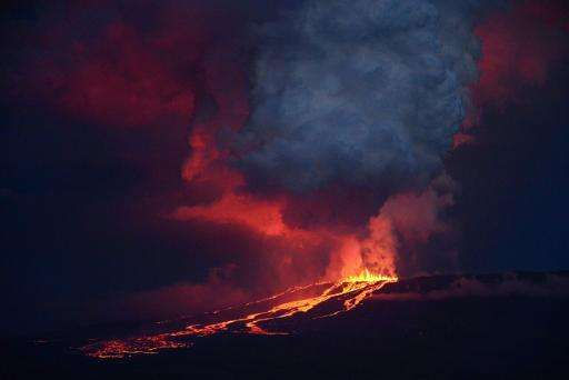 The eruption of the volcano Wolf on Isabela Island, Galapagos on May 25, 2015