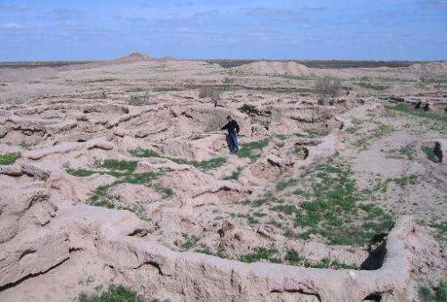 The excavated ancient fortress town of Gonur-Tepe, in the Kara Kum desert in remote western Turkmenistan
