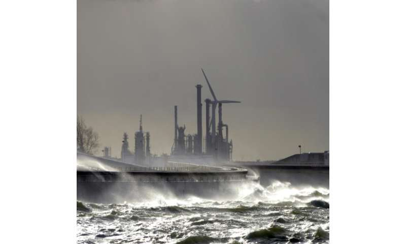 The giant Maeslant surge barrier guards the entrance to the largest port in Europe, Rotterdam