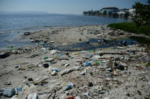 The heavily polluted Guanabara Bay in Rio de Janeiro, Brazil, seen on June 10, 2015
