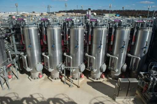 The hydrolysis wastewater treatment center is seen at DC Water's Blue Plains plant in Washington, DC