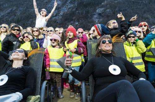 The inauguration on October 30, 2013 of sun mirrors (Solspeilet) set up on the hillside above Rjukan, Norway, to reflect sunligh